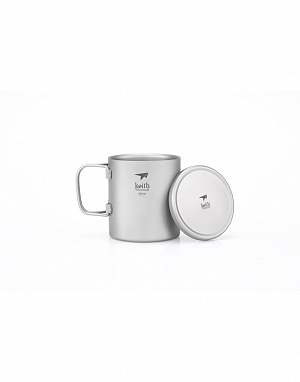 Ti3352 Double-Wall Titanium Mug with Folding Handle and Lid
