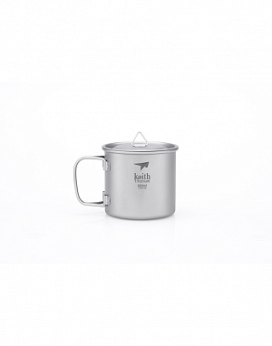 Ti3240 Single-Wall Titanium Mug with Folding Handle and L